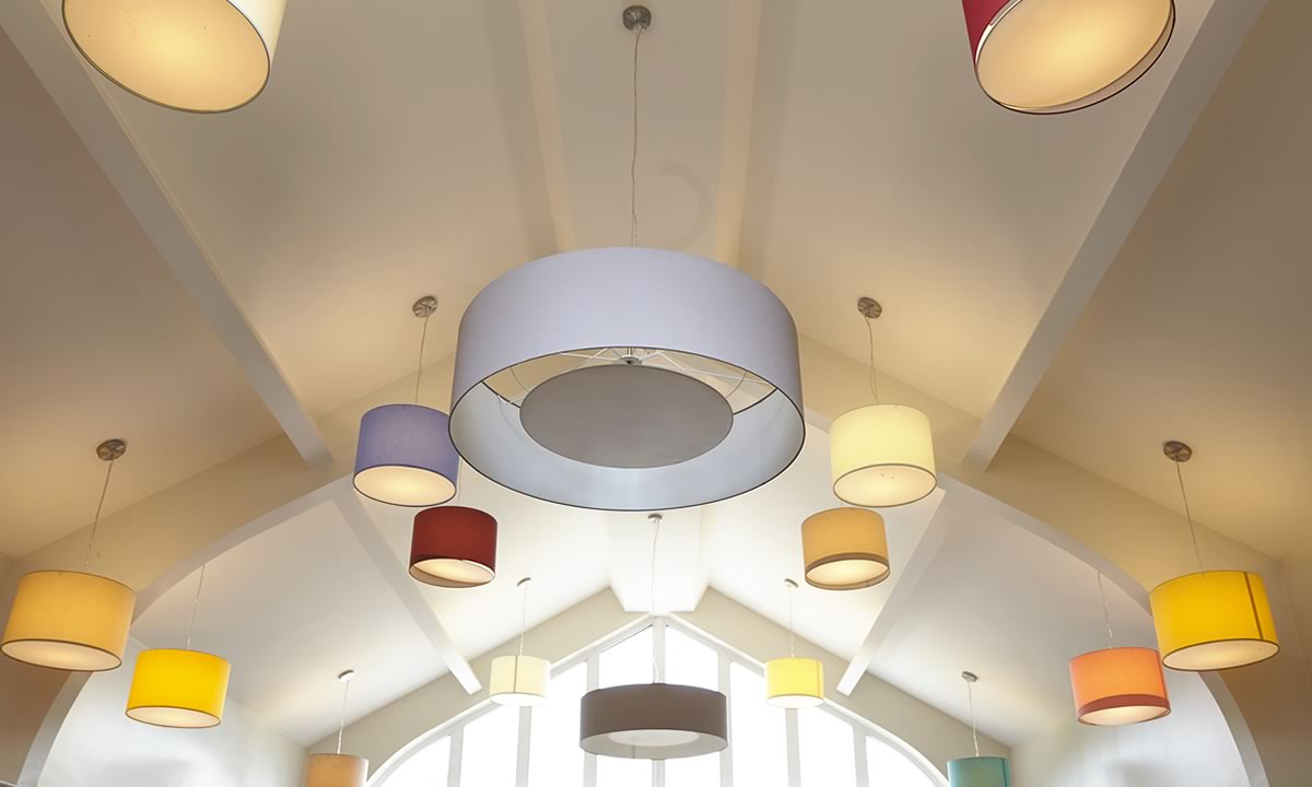 the ceiling of the living room at Smallbrook care home